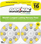 Four 8-battery cards, Size 675, Rayovac L Series, Mercury Free