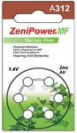 ZeniPower Size 312 Mercury Free Hearing Aid Batteries Carton of 60 Batteries