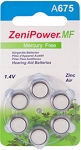 Zeni Power Size 675 Mercury Free  Carton of 60 Batteries