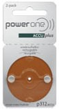 AccuPlus Rechargeable Batteries Size 312 Card of 2