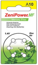 ZeniPower Size 10 Mercury Free Hearing Aid Batteries Carton of 60 Batteries