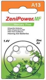 ZeniPower Size 13 Mercury Free Hearing Aid Batteries Carton of 60 Batteries